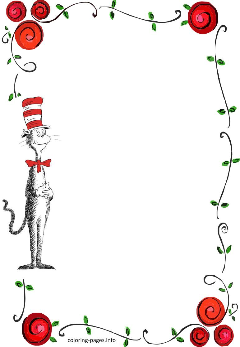 Dr Seuss Border Invitation Flowers Roses Love Card Free.