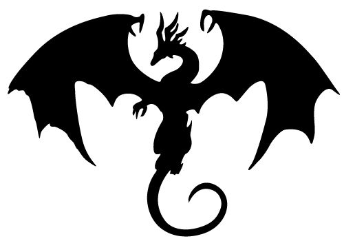 Flying Dragon Silhouette.