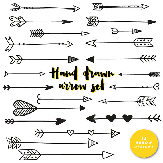 Hand Drawn Arrows Clip Art Tribal Handdrawn Arrow by inkanddot.