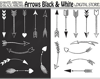 Hand Drawn Arrows Tribal Aztec Digital Clip Art.