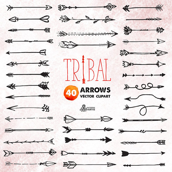 Tribal Arrows Clipart: 40 vector digital files. Hand drawn, doodle.