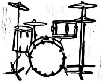 Free Drum Set Black And White, Download Free Clip Art, Free Clip Art.