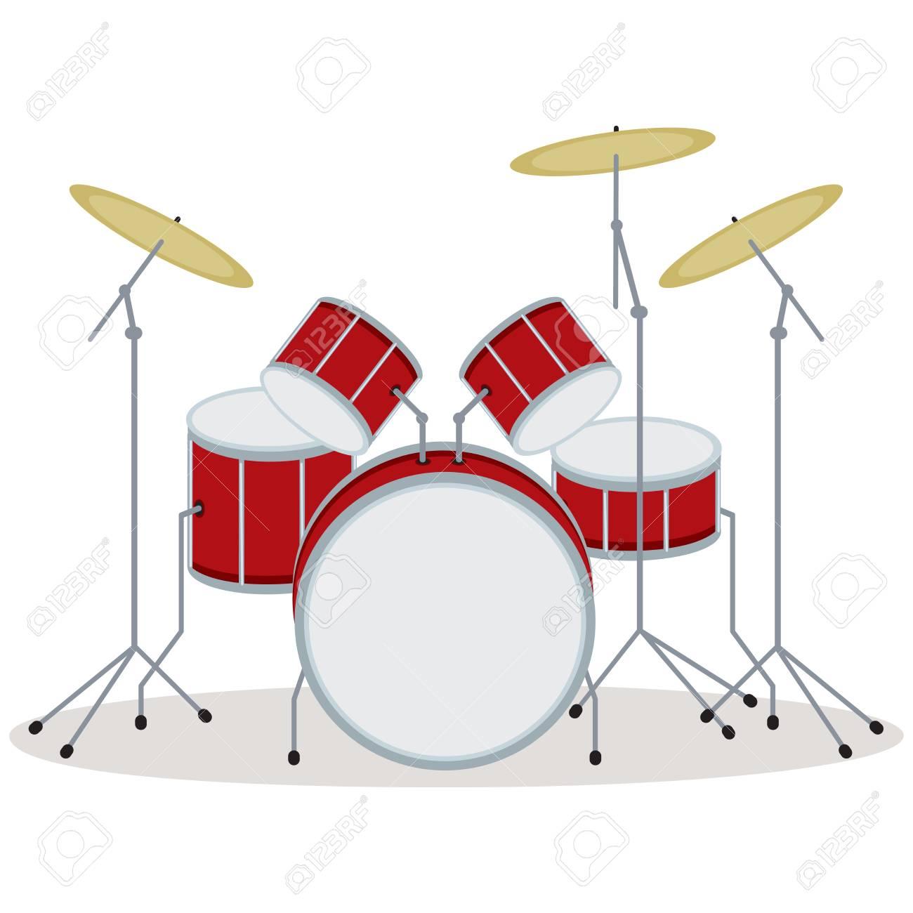 Drum set. Vector illustration of a drum kit..