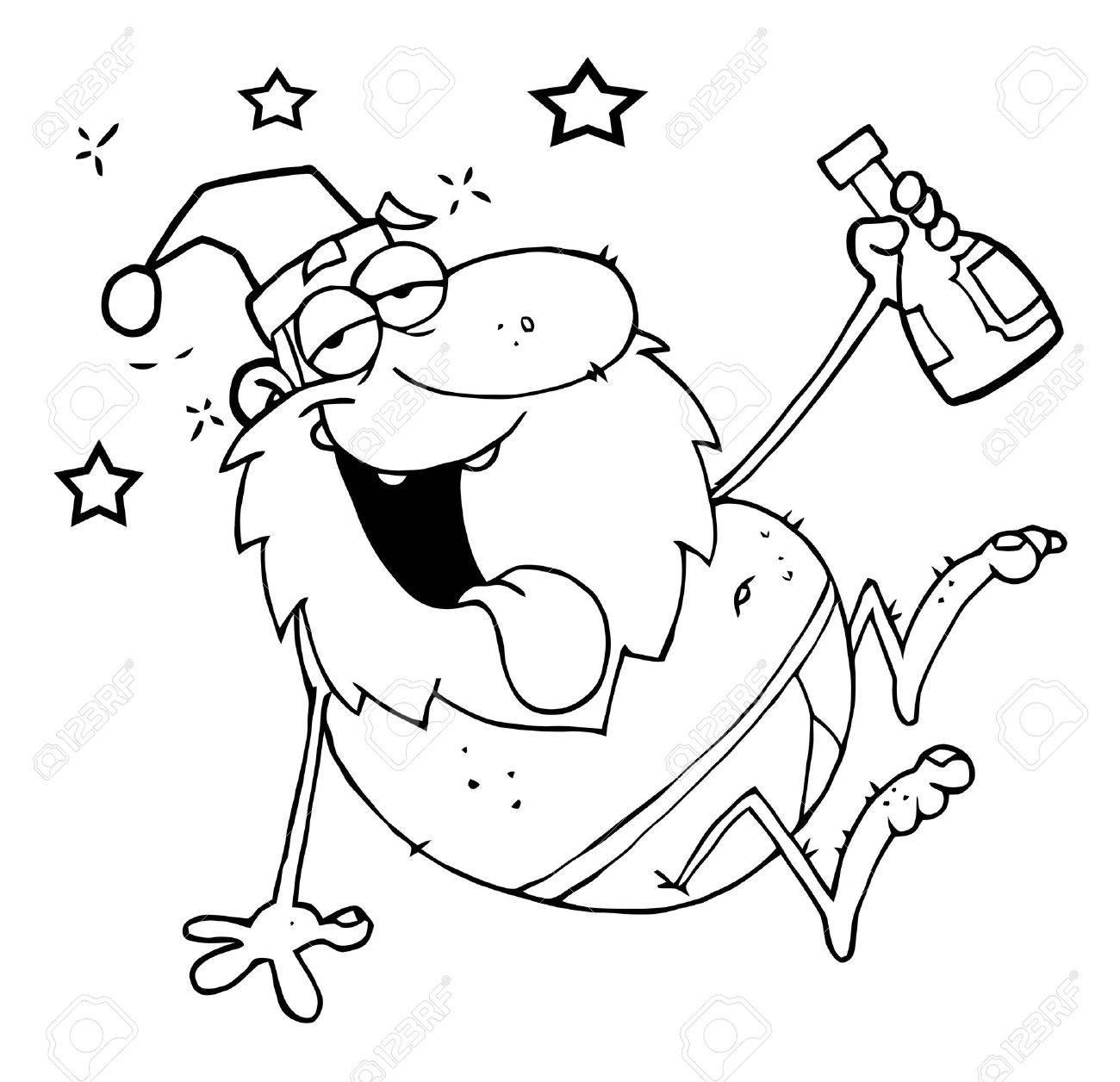 Outline Drunk Santa Clause.