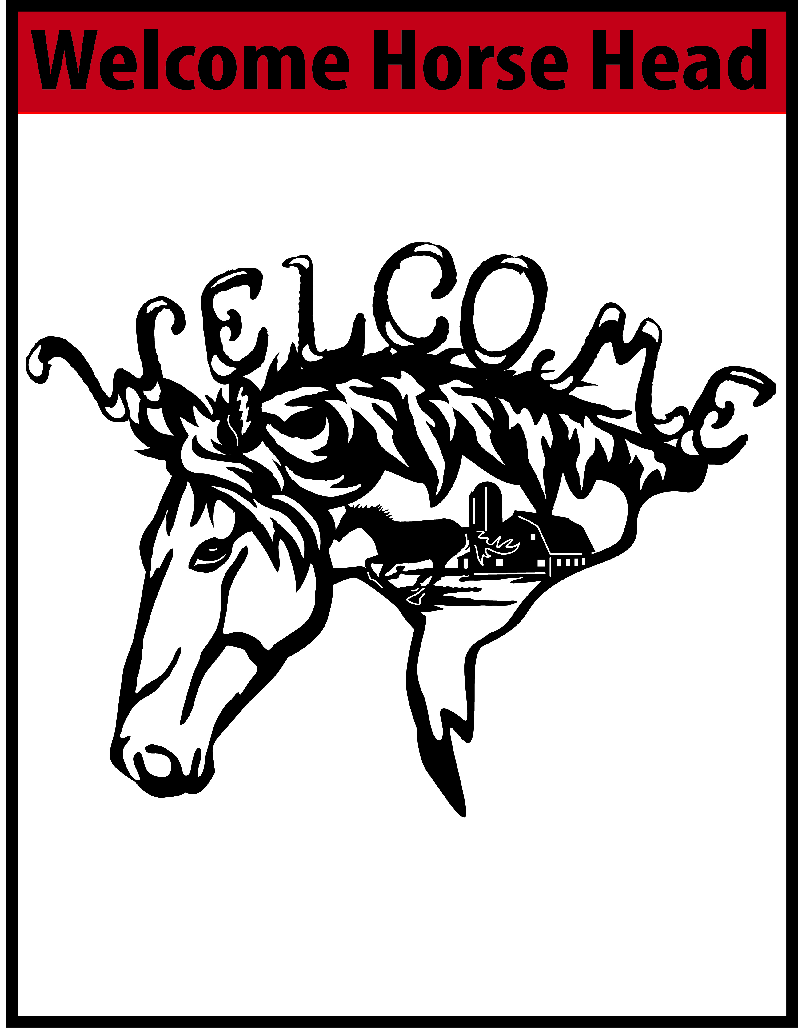 Welcome Horse Head Free DXF File.