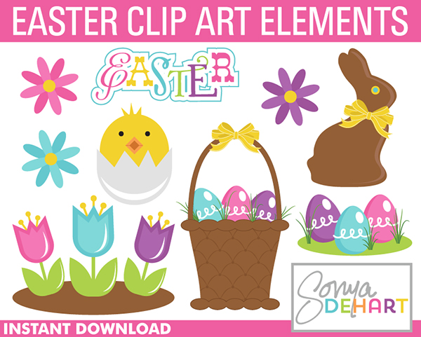 FREE Easter Clip Art Set from Sonya DeHart Design.