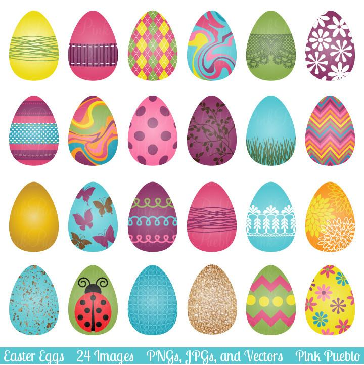 740 Easter Eggs free clipart.