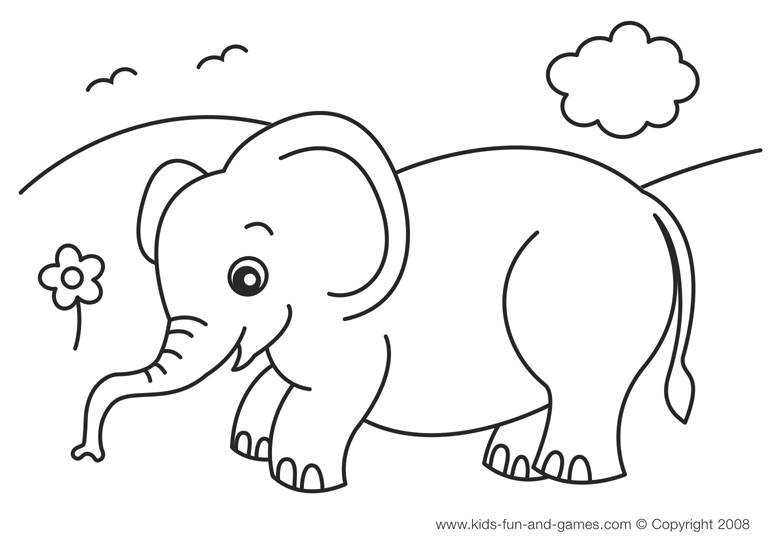 Elephant Drawing For Kids.