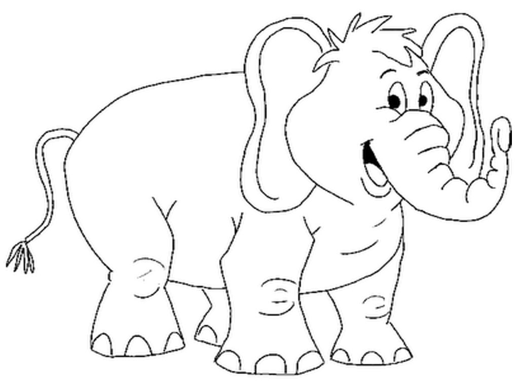 Smiling Elephant Printable Coloring Pages.