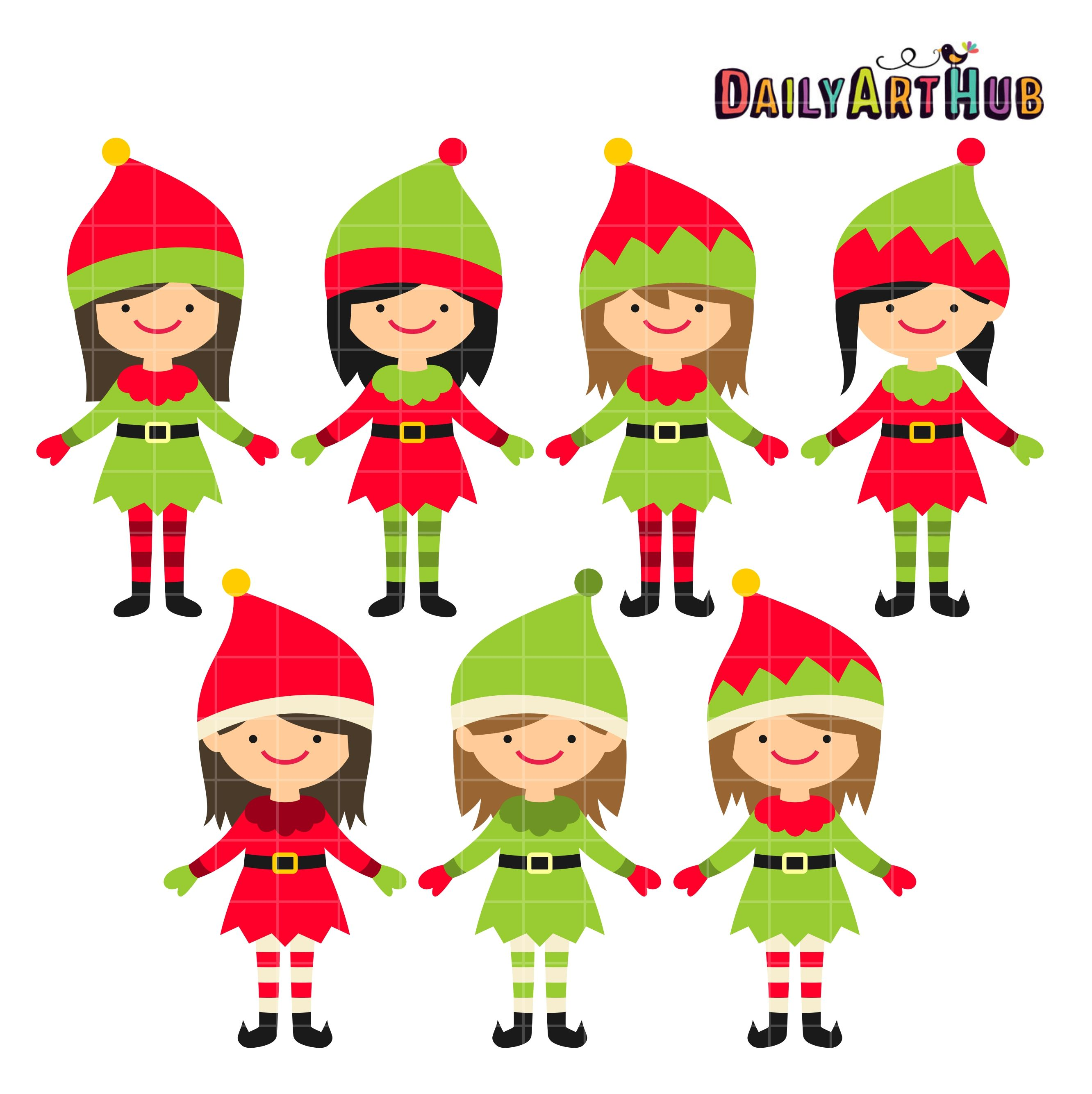 Christmas Cute Elves Clip Art Set.