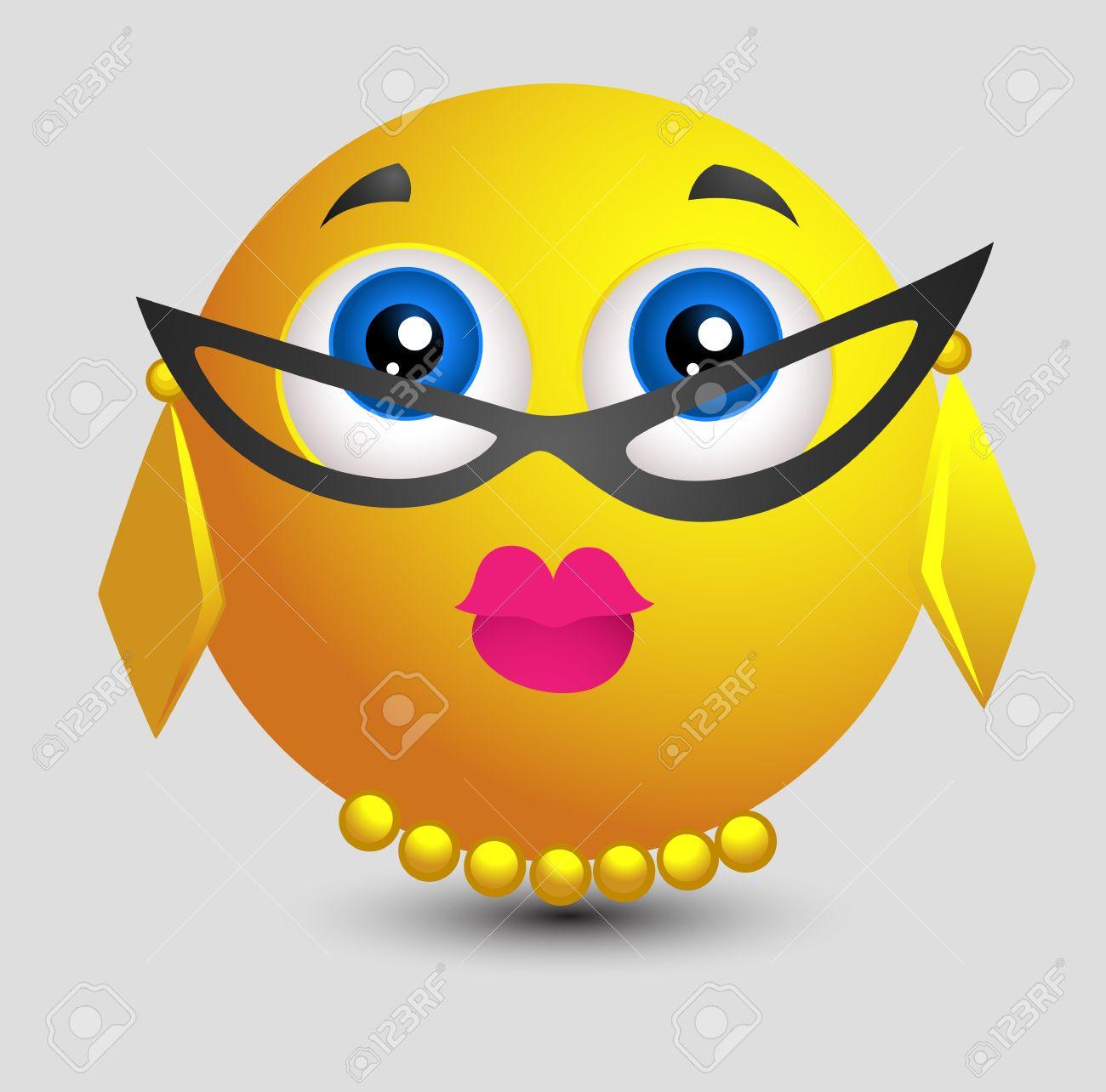Teacher Look Emoji Smiley Lady.