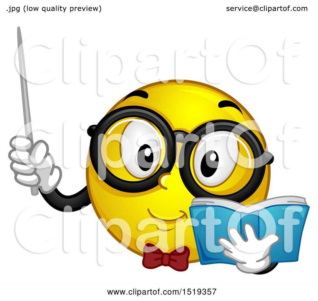 Clipart of a Yellow Smiley Emoji Teacher Holding a Pointer Stick and.