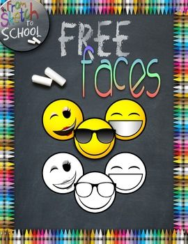 FREE} EMOJI FACES {From Sketch to School Clipart} ….