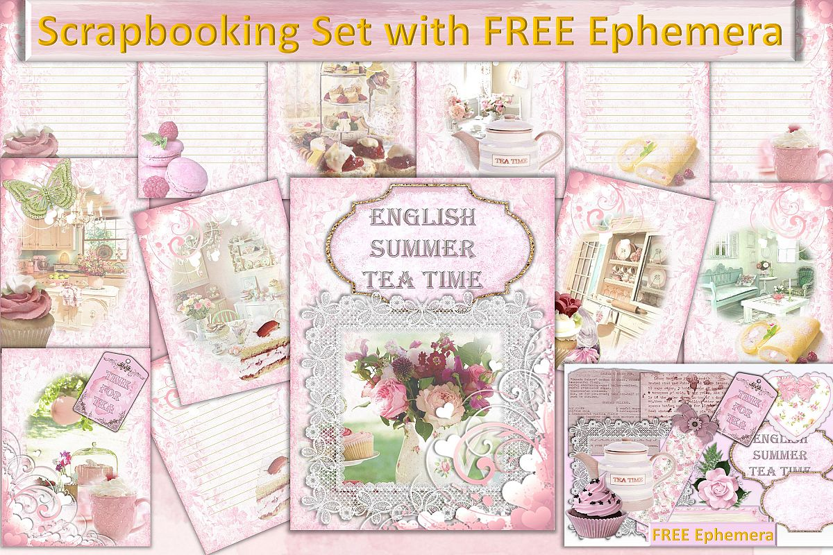 Scrapbooking Kit with FREE CLipart and Ephemera.