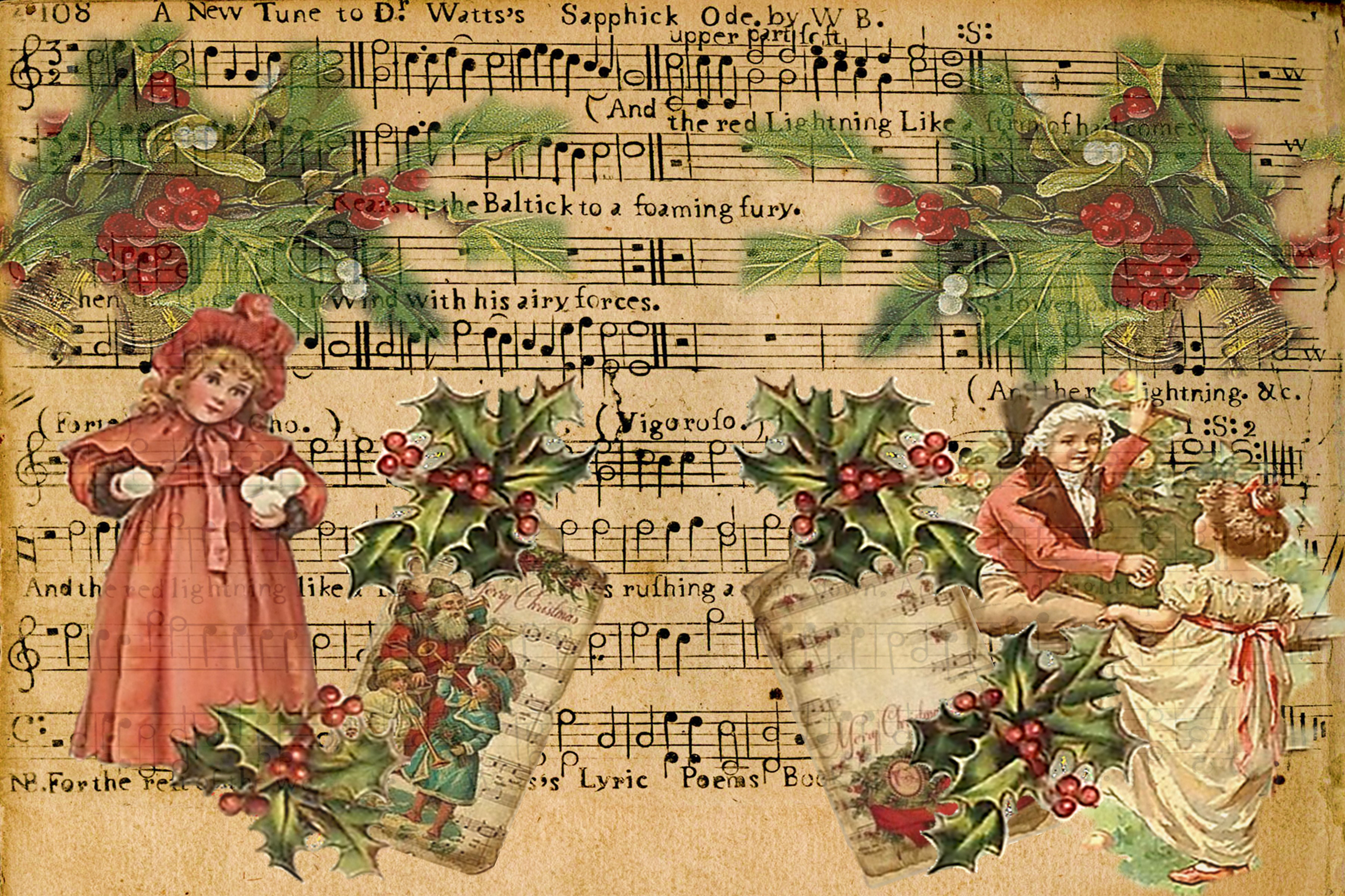 Country Christmas Backgrounds with FREE Ephemera and Clipart.