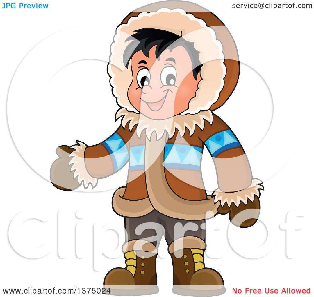 Clipart of a Happy Inuit Eskimo Boy Presenting.