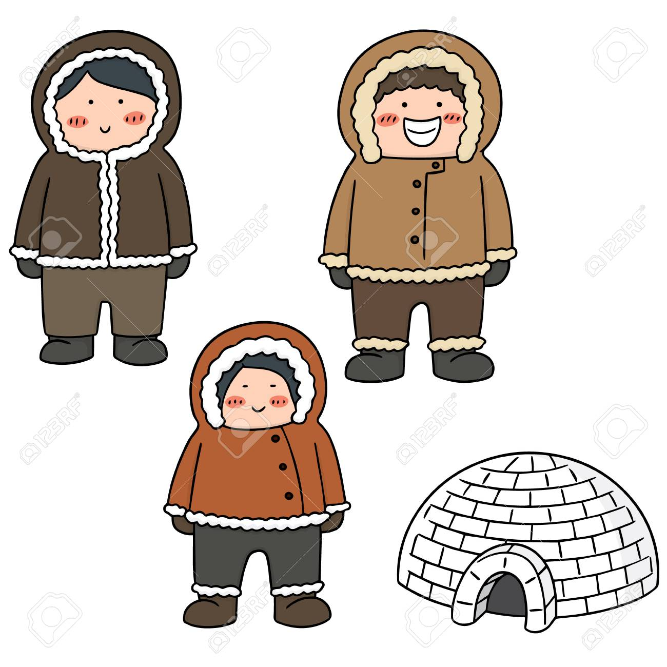 vector set of eskimo.