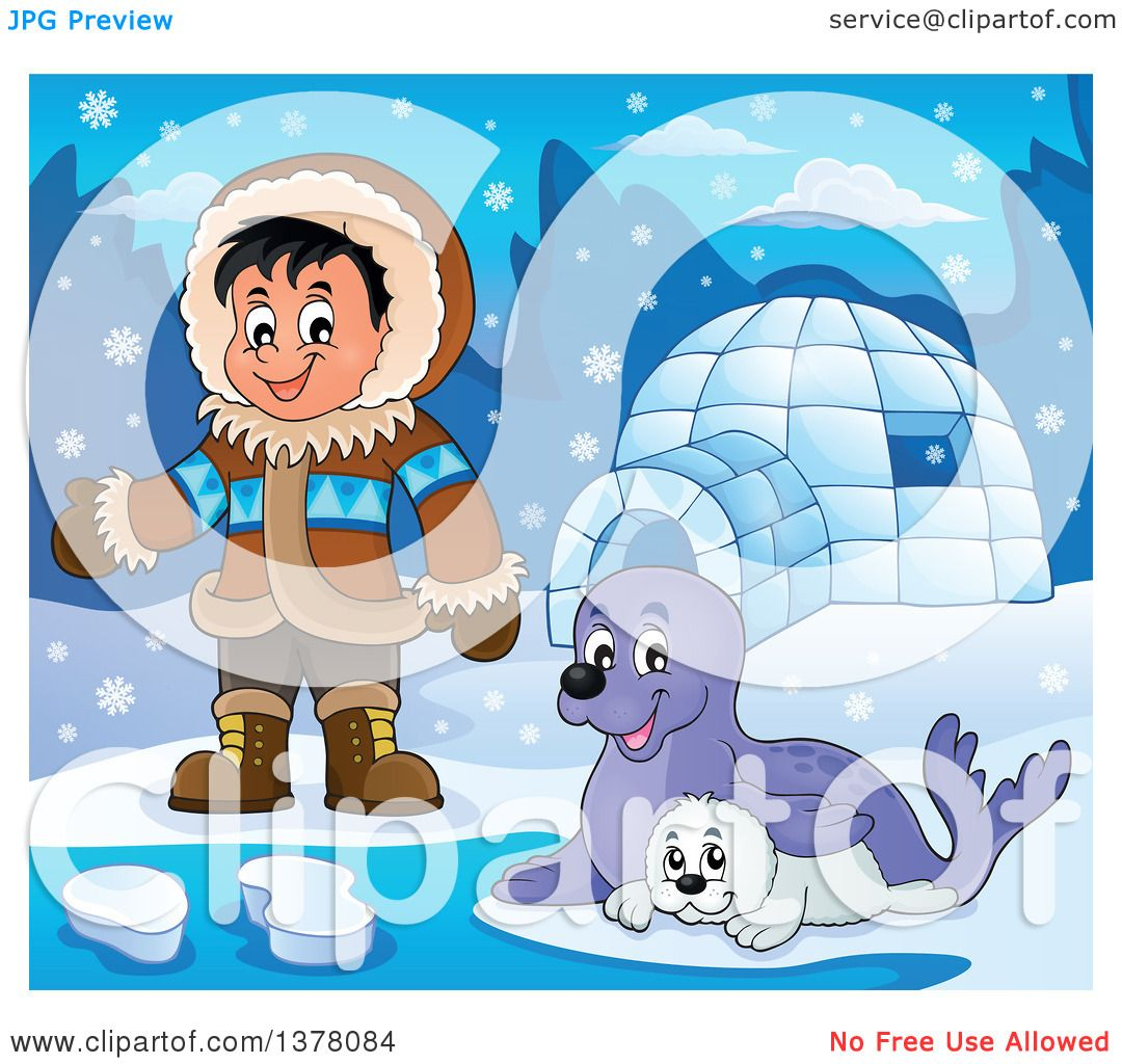 Clipart of a Happy Inuit Eskimo Boy Presenting by Seals and an Igloo.