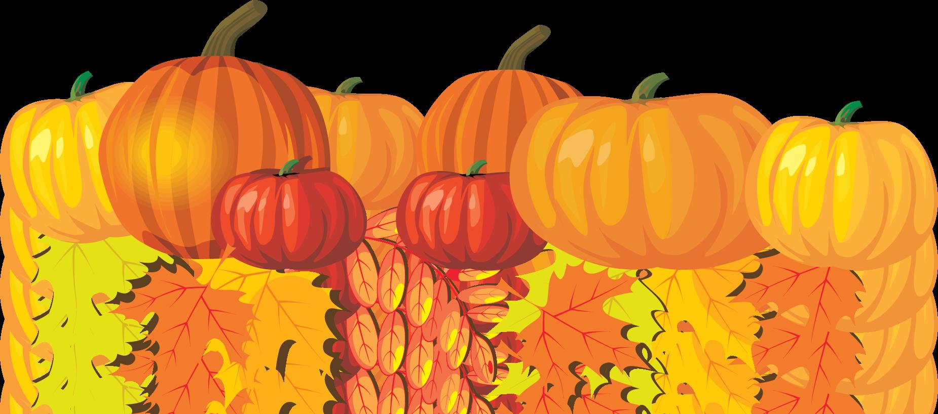 Pumpkins and Leaves Clip Art.
