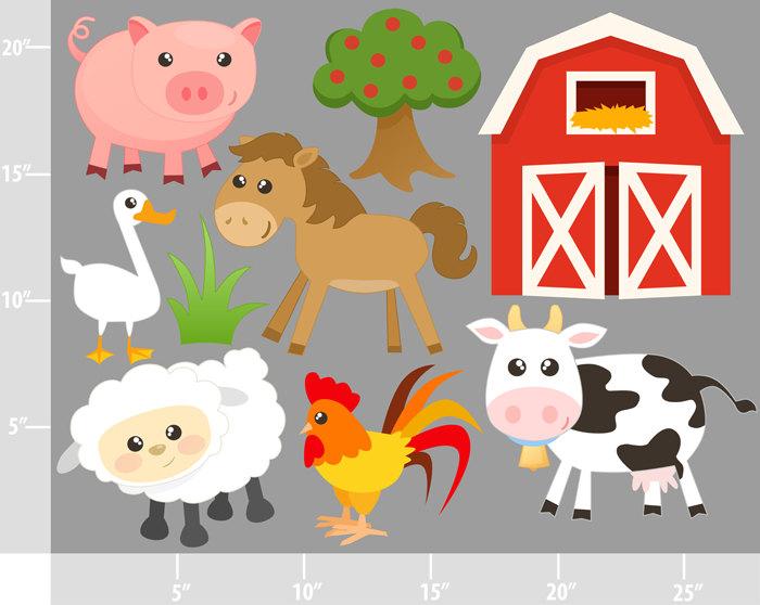 Farm Animals Clipart Clip Art Barnyard Animals by PinkPueblo.