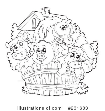 Free Farm Animal Clipart Black And White.