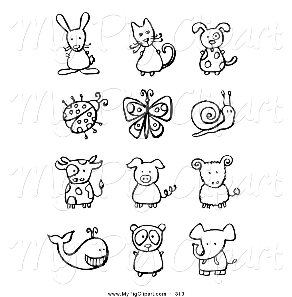 Free Animal Clipart Black And White.
