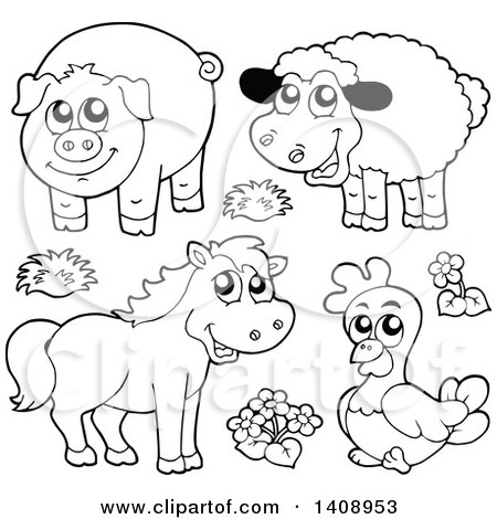 Clipart of Black and White Lineart Farm Animals.