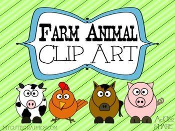 Farm Animal Clip Art Set.