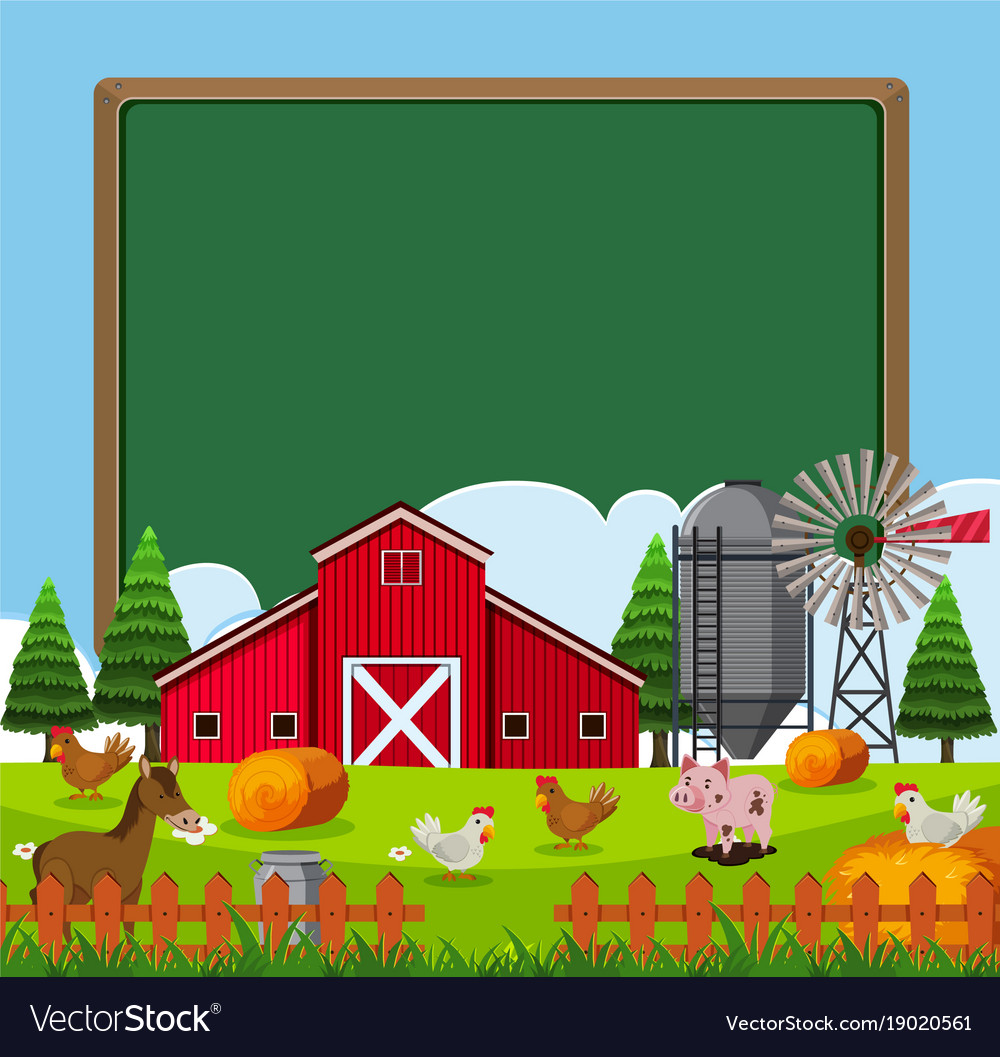 Border template with many farm animals.
