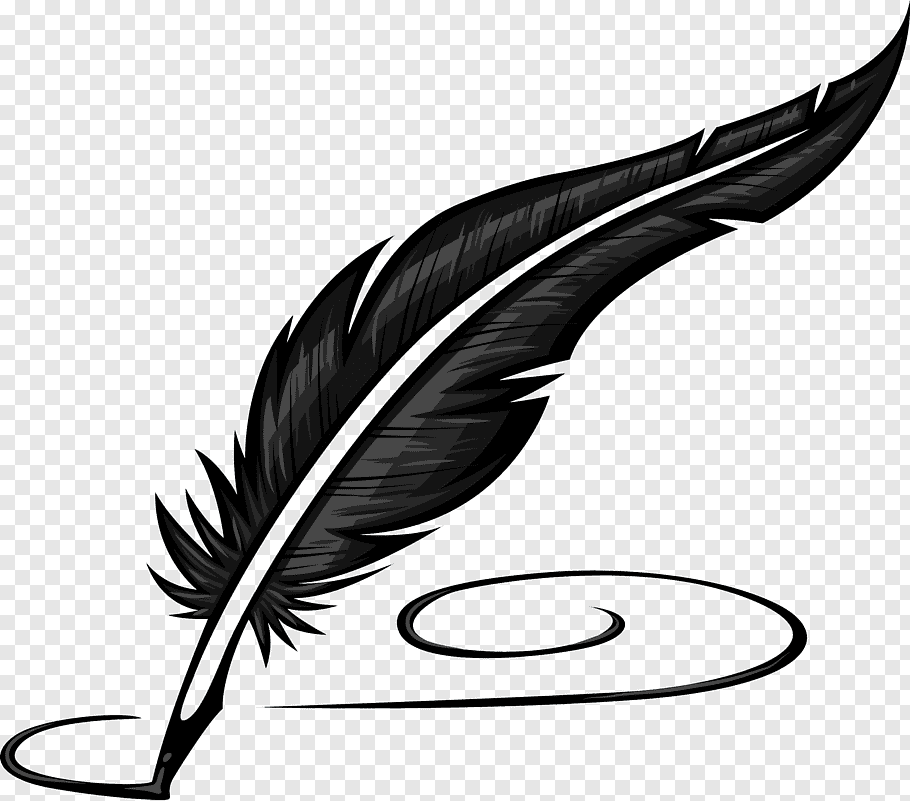Black feather quill illustration, Paper Quill Pen Inkwell.