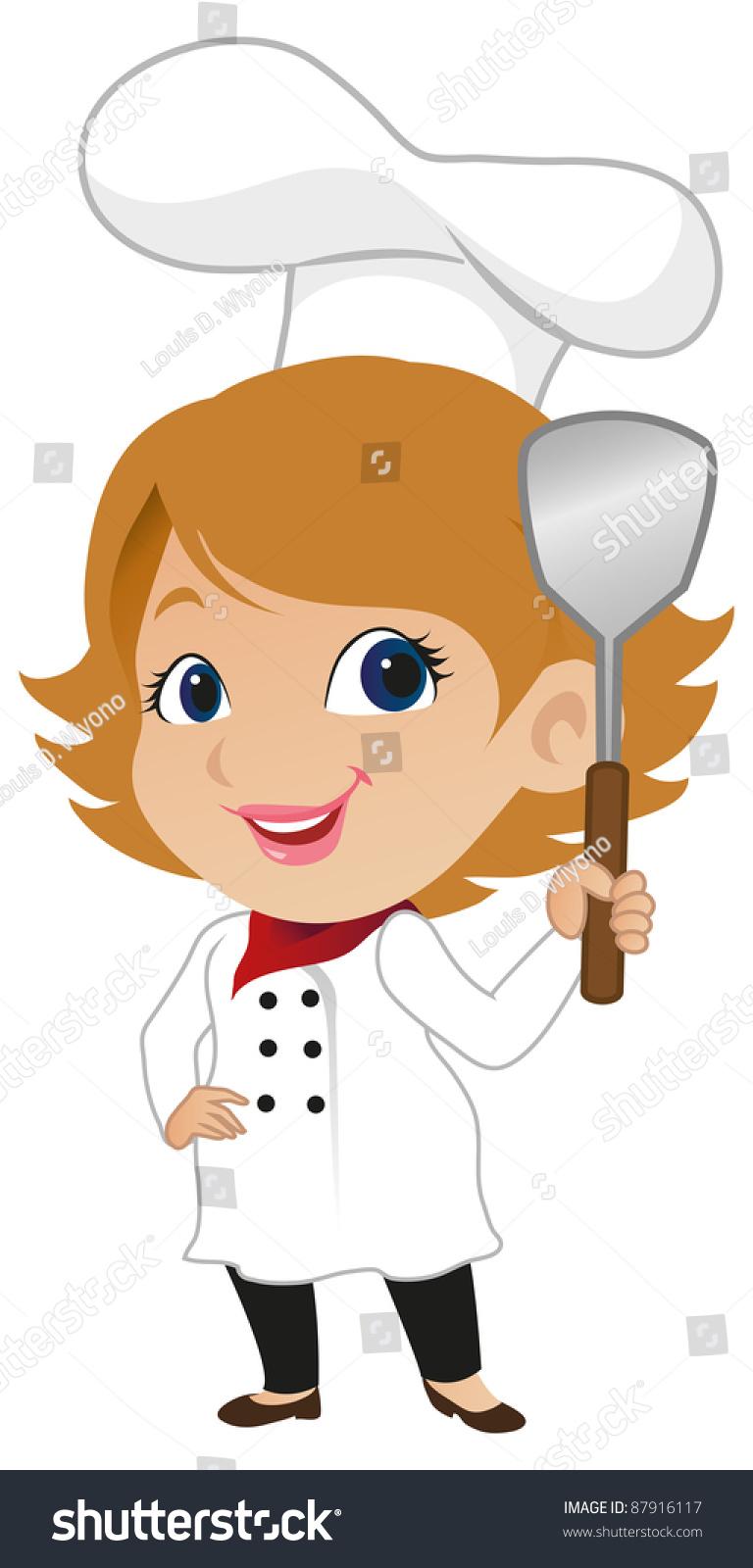 Cute Female Chef Stock Vector Illustration 87916117.