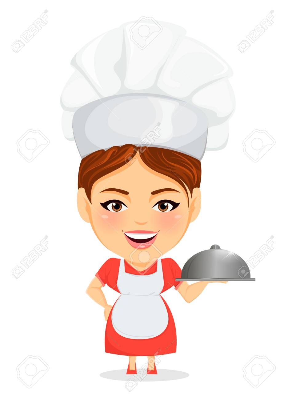 Cook woman, female master chef. Funny cartoon character with...