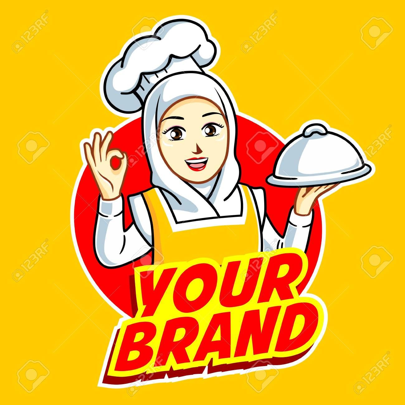 Female Chef in action logo.
