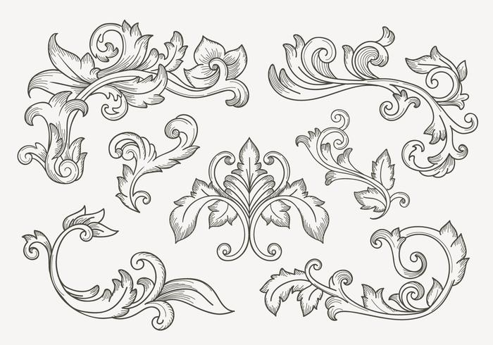 Set Of Vintage Filigree Border.