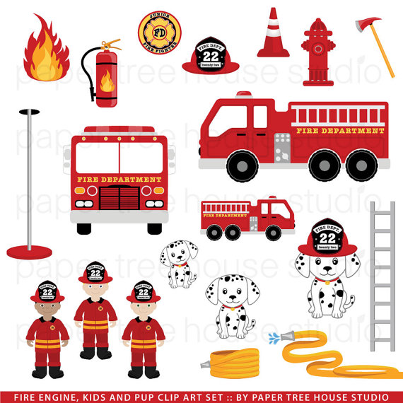 Fire Station Clip Art. Fire Engine Clipart. Dalmatian Dog Clip.