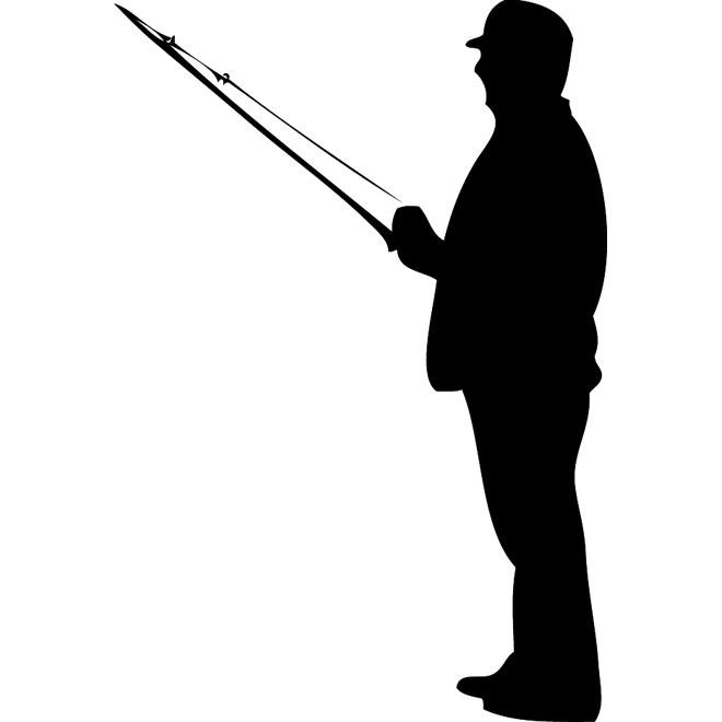 Fisherman silhouette vector.