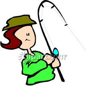Woman Fishing Clipart.