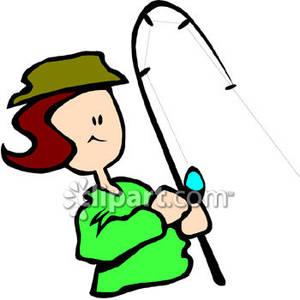 Woman Fishing Clipart.