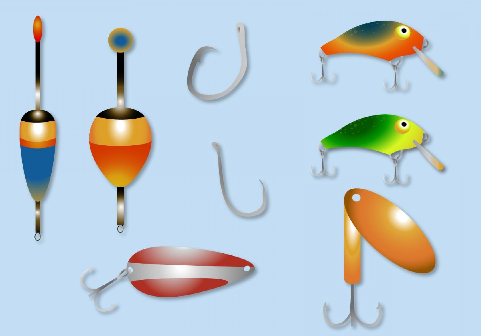 Best Free Clip Art Fishing Lure And Bobber Vector Pictures.