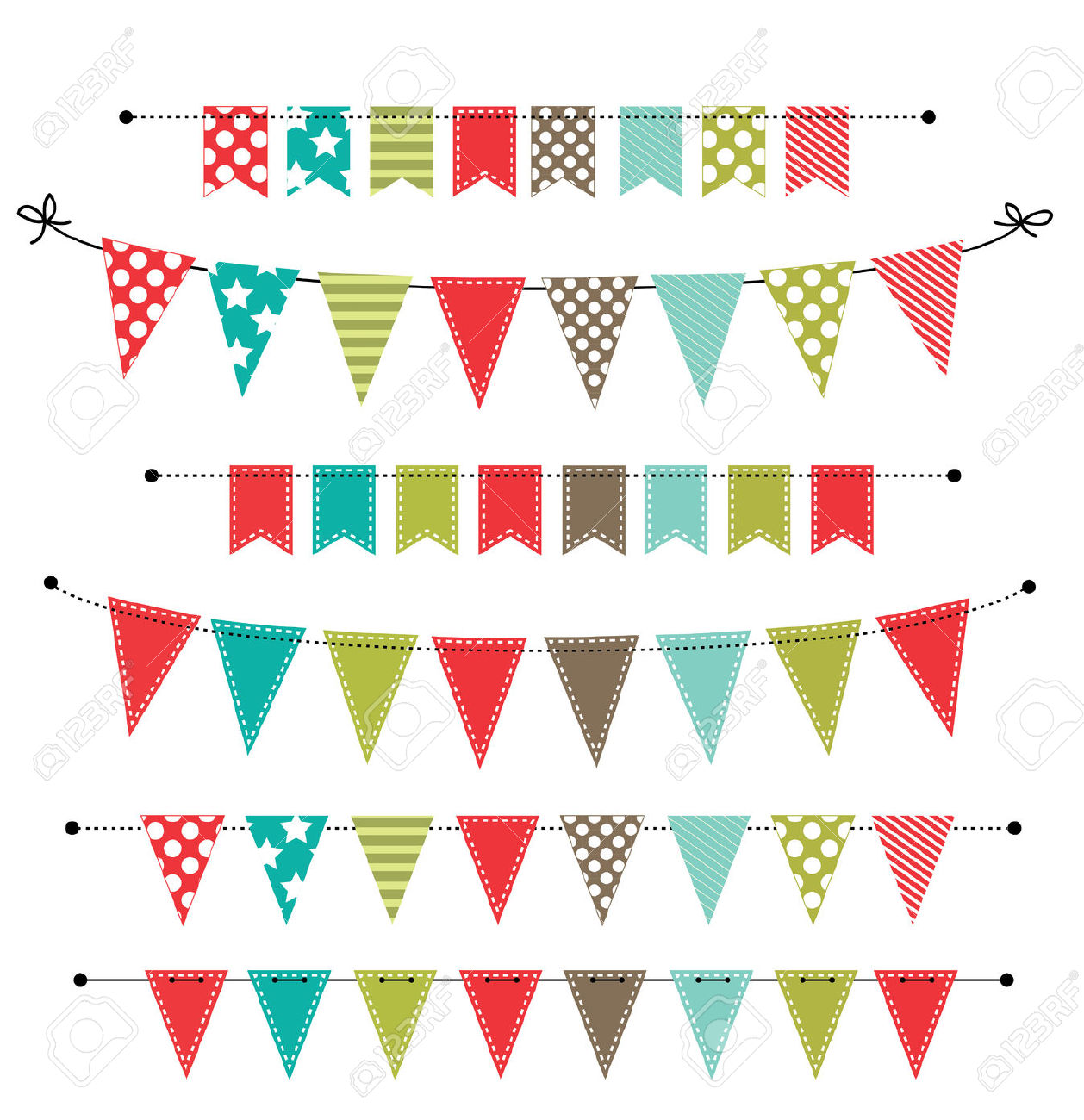 Christmas Banner, Bunting Or Flags On Transparent Background.
