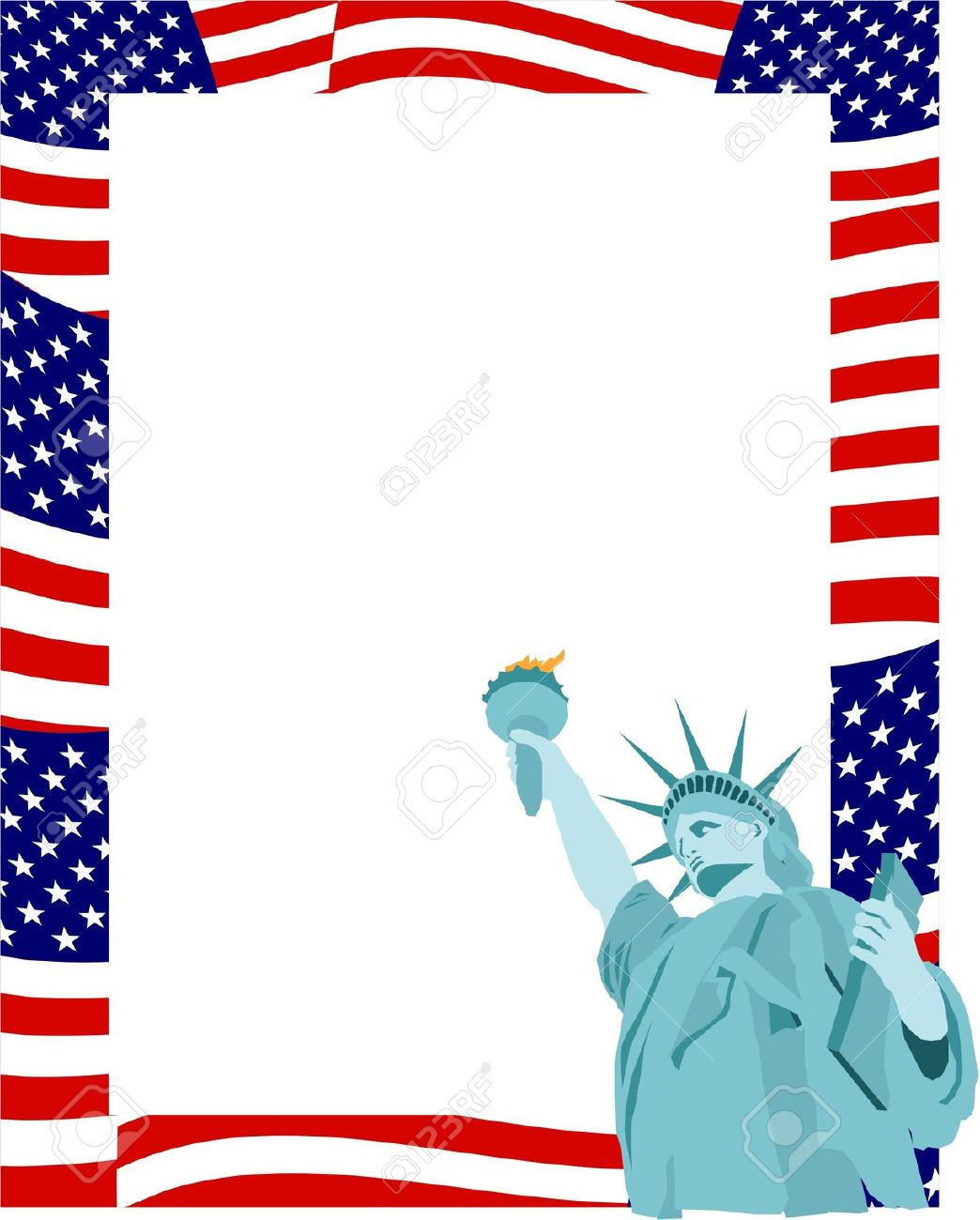 American Flag Border With Statue Of Liberty Stock Photo, Picture.