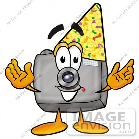 Clip Art Graphic of a Flash Camera Cartoon Character Wearing a.
