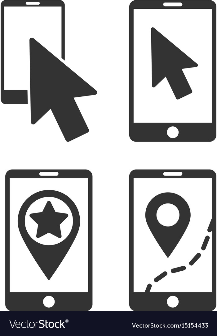 Mobile phone and pointer flat icon set.
