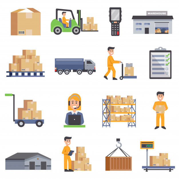 Warehouse flat icons set Vector.