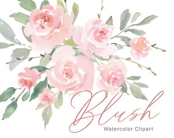 Pink Watercolor Floral Clipart Free Commercial Use Blush Light Watercolour  Flowers Aquarelle Roses Bouquets Digital Download Clip Art PNG.