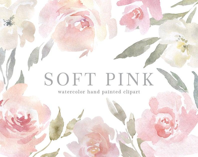 Watercolor Pink Floral Clipart Blush Aquarelle Digital Download PNG Flowers  Free Commercial Use Wedding Light Gentle Arrangements Bouquets.