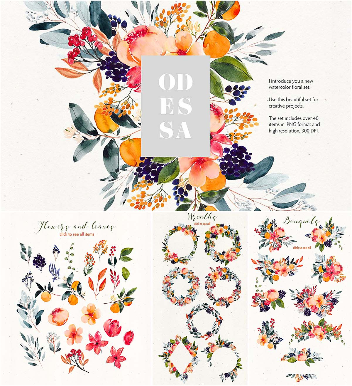 Odessa floral watercolor clipart.