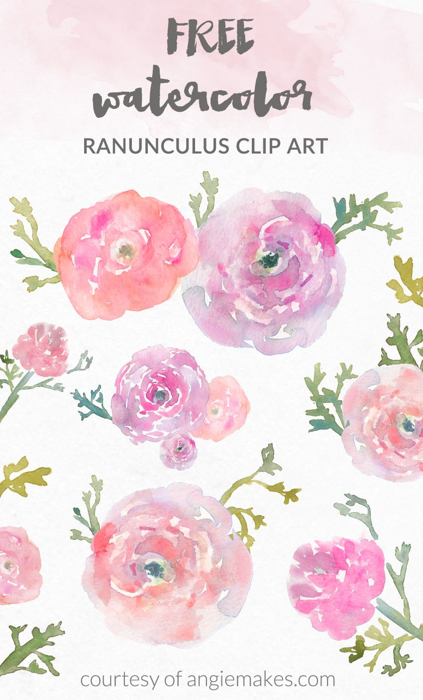 Free Watercolor Flower Clip Art.