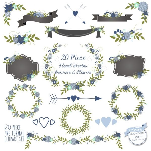 Download Floral Clipart, Flower clipart, Wedding Clipart, Blue.