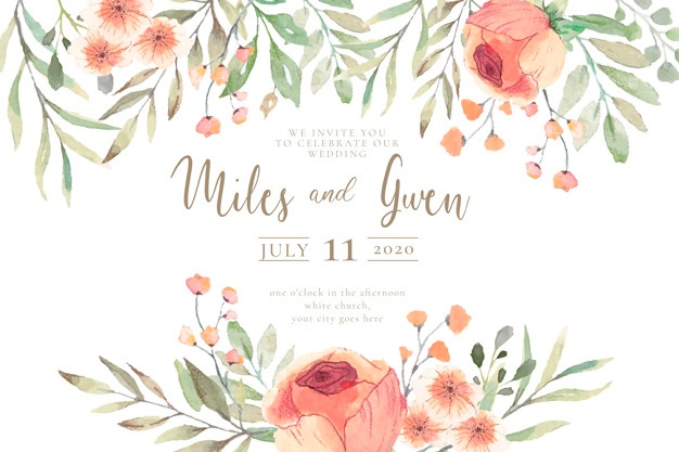 Wedding invitation with watercolor flowers ready to print Vector.